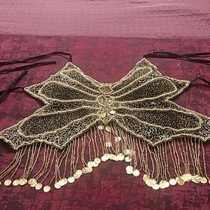 Western Fashion  halter Crystal  beads gold  black